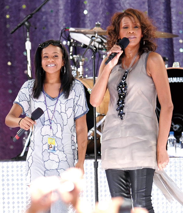 In this Sept. 1, 2009 file photo, singer Whitney Houston, right, sings with her daughter Bobbi Kristina Brown during a performance on 'Good Morning Am...