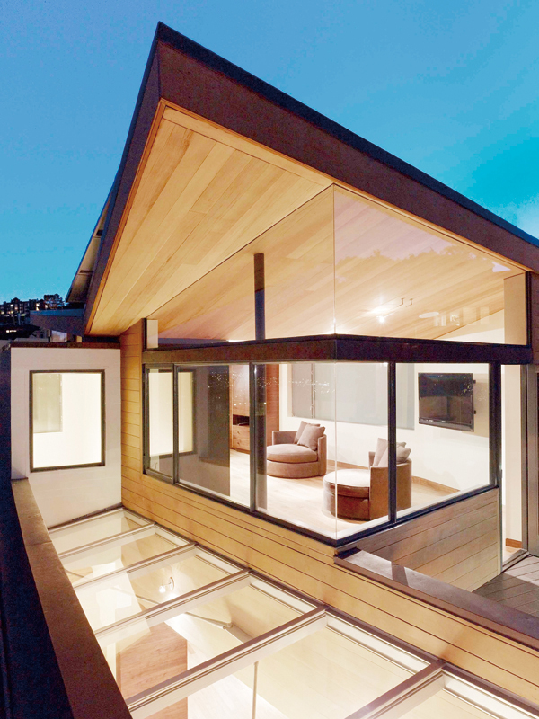 A skylight at the renovated home of the general contractor and developer, Gerry Agosta and his wife, Lisa Moresco, in San Francisco, Feb. 6, 2012. (Th...