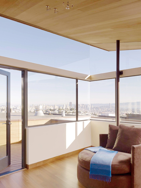The office and guest room with a view of downtown and the South Bay at the renovated home of the general contractor and developer, Gerry Agosta and hi...