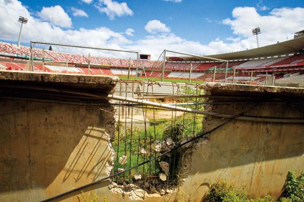 A broken wall stands in the Beira-Rio stadium in Porto Alegre, Brazil, Friday March 2, 2012. (Associated Press)