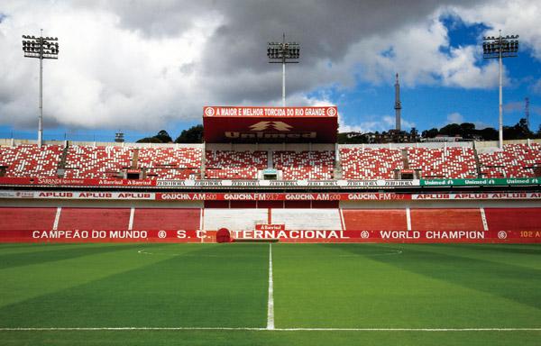 The soccer field at the Beira-Rio stadium in Porto Alegre, Brazil, Friday, March 2, 2012. (Associated Press)