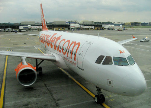 An EasyJet plane pulls into the gate at London's Gatwick Airport on June 27, 2006, in this file photo.