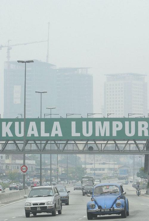A view of hazy Kuala Lumpur, Malaysia yesterday