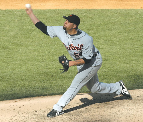 Detroit Tigers' relief pitcher Joel Zumaya pitches to the New York Yankees in the seventh inning during Game 2 of their American League Division Serie...