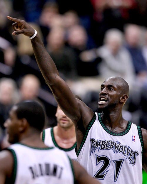 The Minnesota Timberwolves' Kevin Garnett reacts after sinking one of his 10 free throws against the Sacramento Kings in Minneapolis on November 1. Ga...