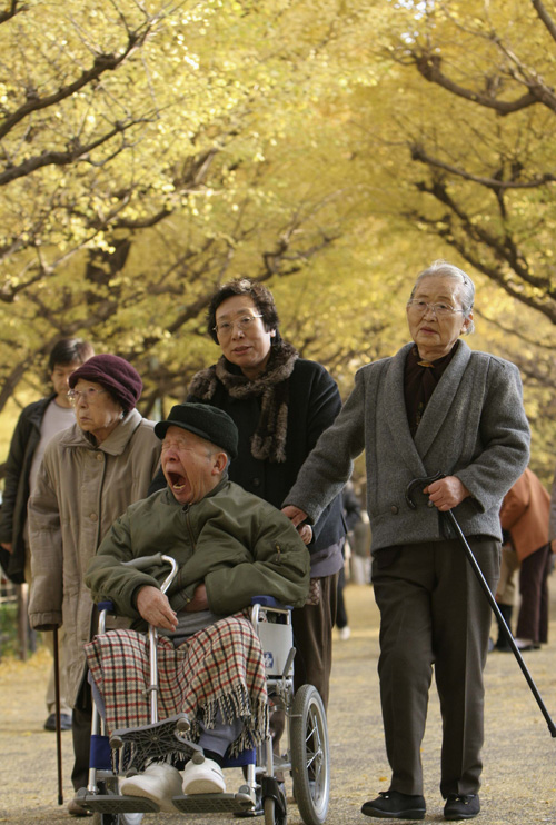 Elderly people take a stroll under yellow gingko leaves in Tokyo on December 4. The funeral industry in Japan is one of many sectors that envisages bi...