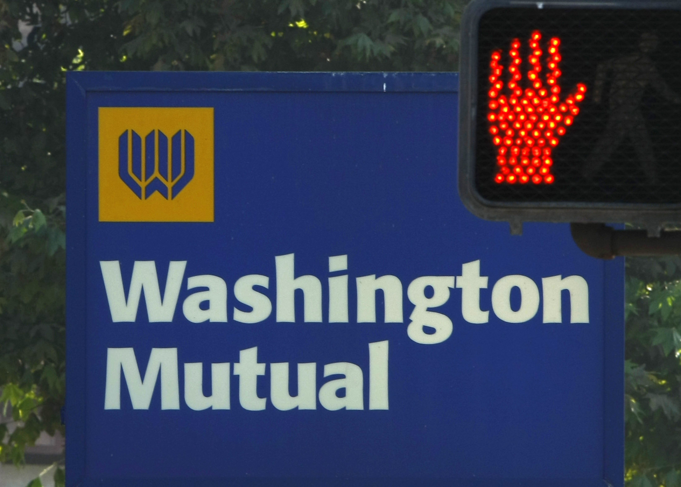 A Washington Mutual Bank sign is shown here in Solana Beach, California on Friday.