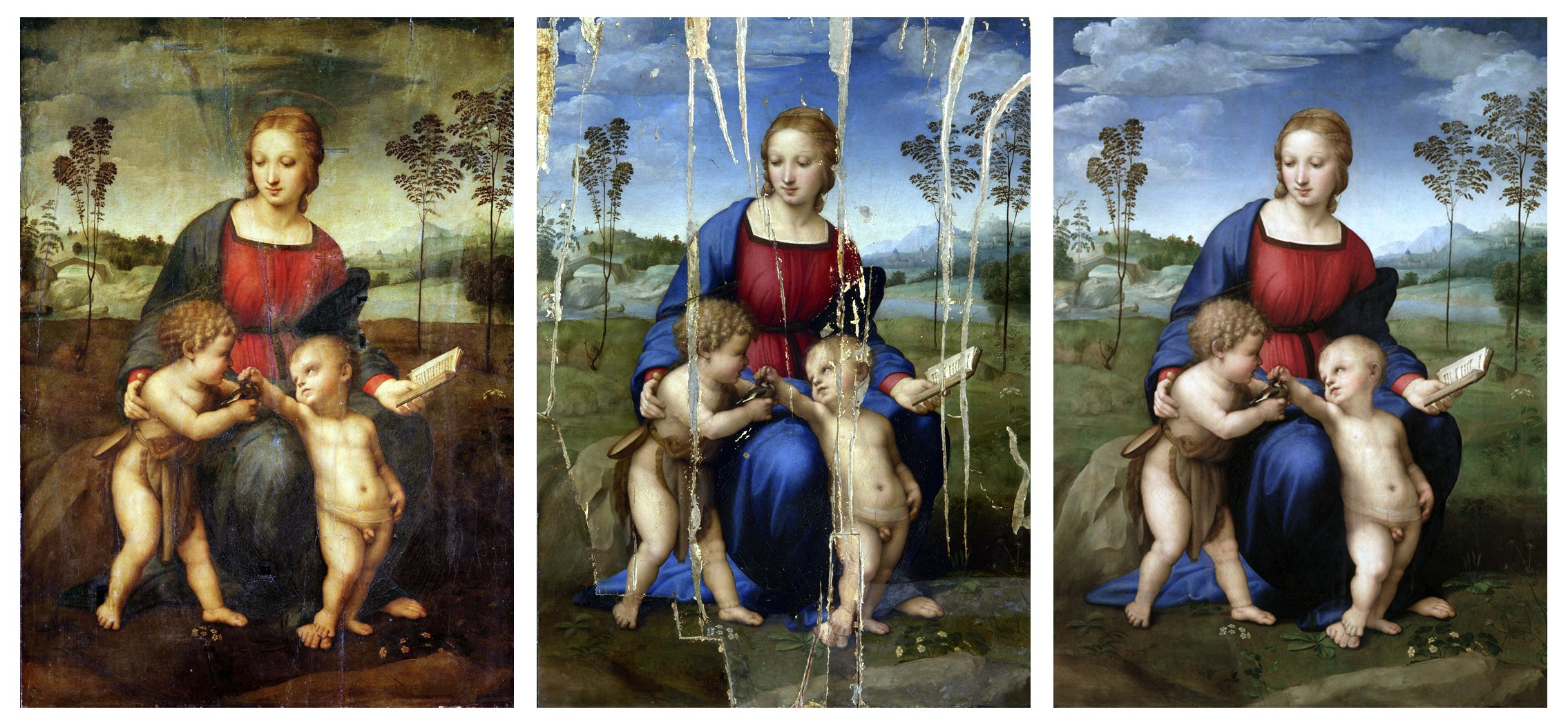 Three separate undated photos show the restoration process of Italian artist Raphael's 1506 painting 'Madonna of the Goldfinch.'