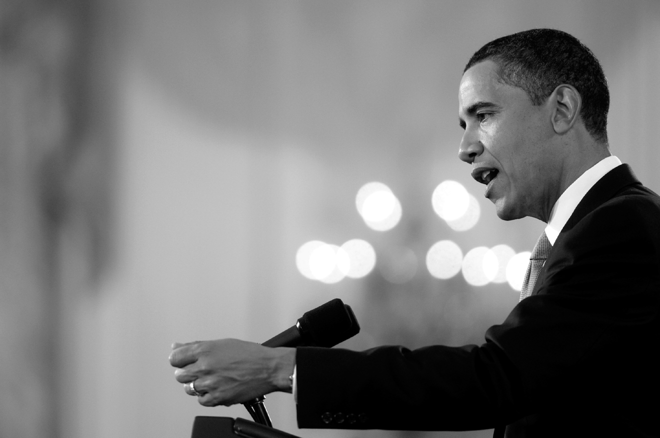 President Barack Obama speaks during a prime-time press conference in the East Room of the White House in Washington, D.C., Wednesday, April 29, 2009....