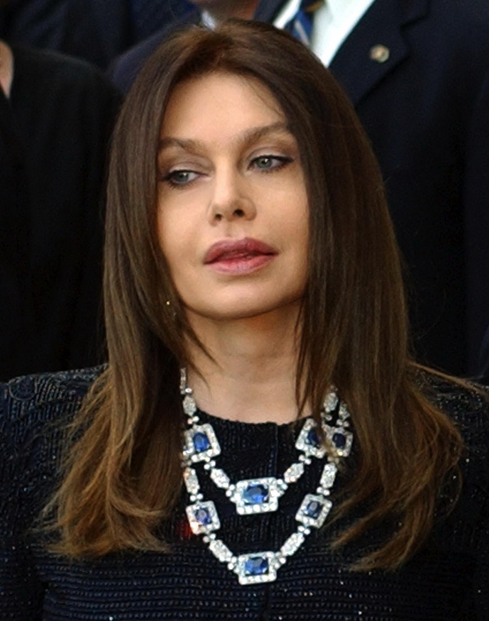 This June 2004 file photo shows Veronica Lario, wife of Italian Premier Silvio Berlusconi, at Rome's Villa Madama on the occasion of the visit of U.S....