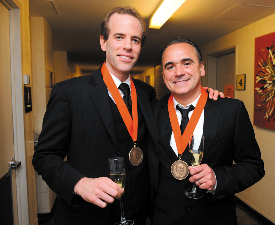 James Beard Foundation Award winners Jean-Georges Vongerichten, right, and Dan Barber toast their success after winning awards at the annual awards di...