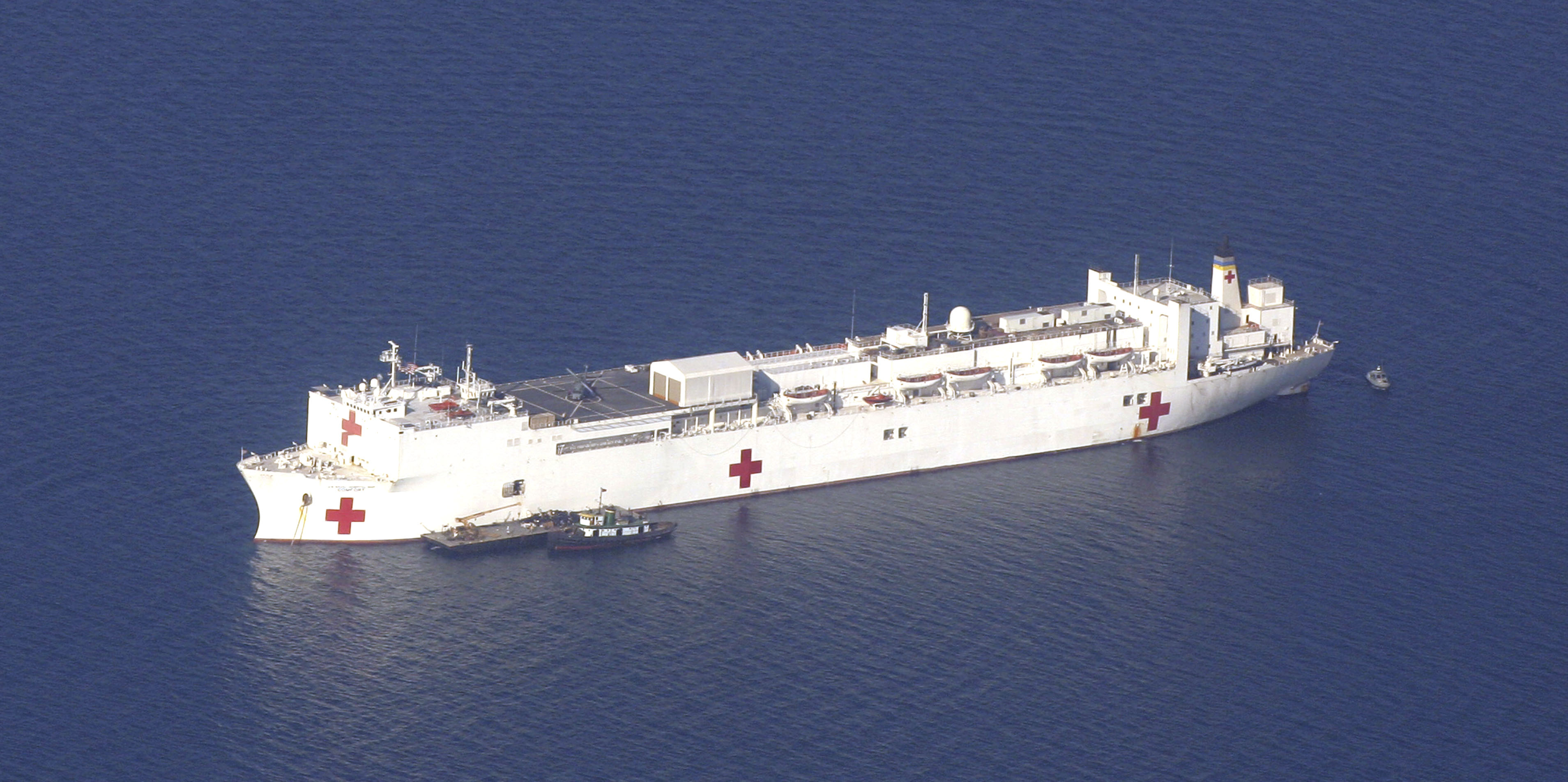 The Navy's hospital ship USNS Comfort, is anchored in the Bay of Haiti, off Port-Au-Prince on Wednesday. The USNS Comfort is providing humanitarian as...
