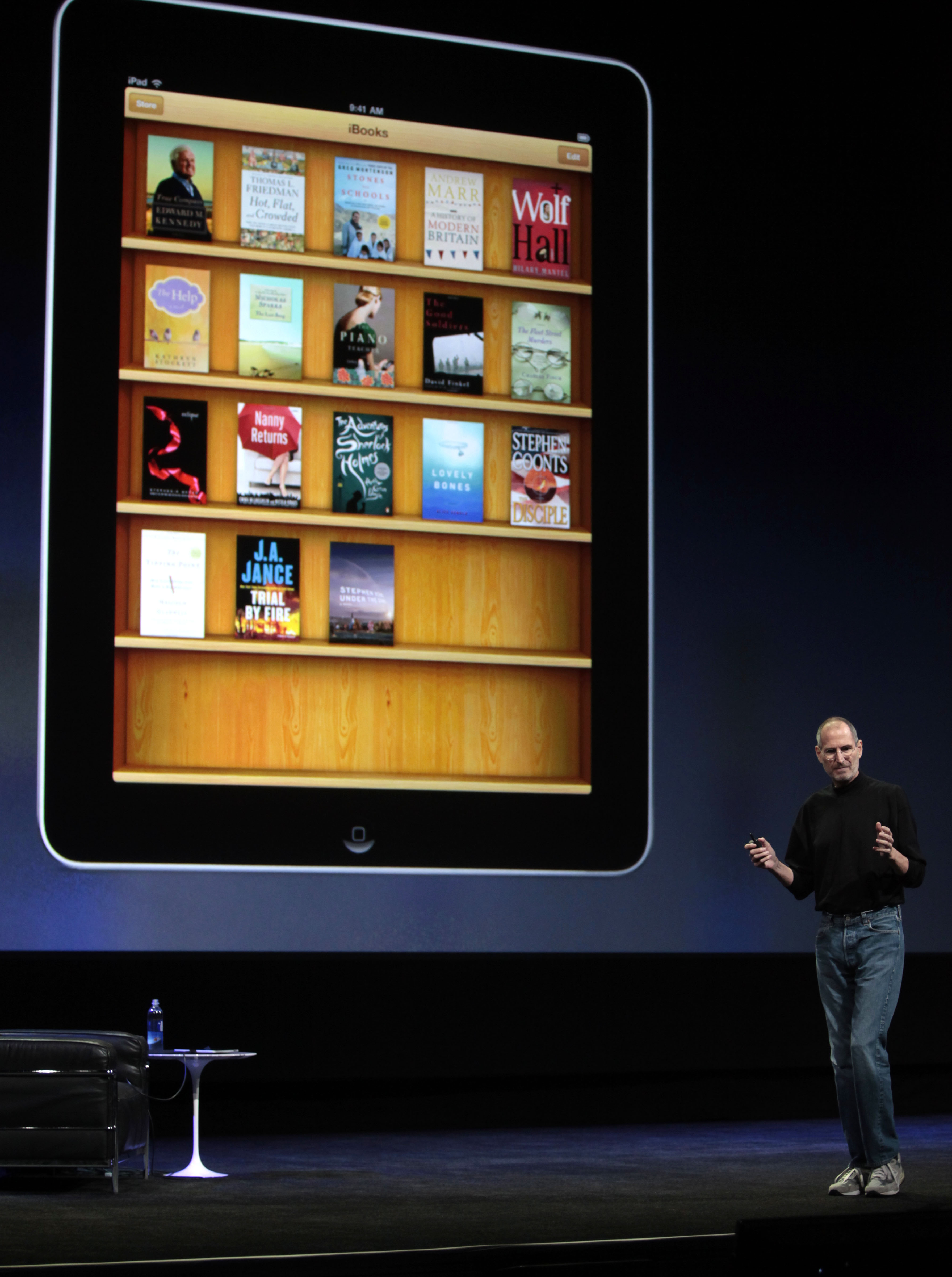 Apple CEO Steve Jobs presents the iPad at the Moscone Center in San Francisco, California on Wednesday.