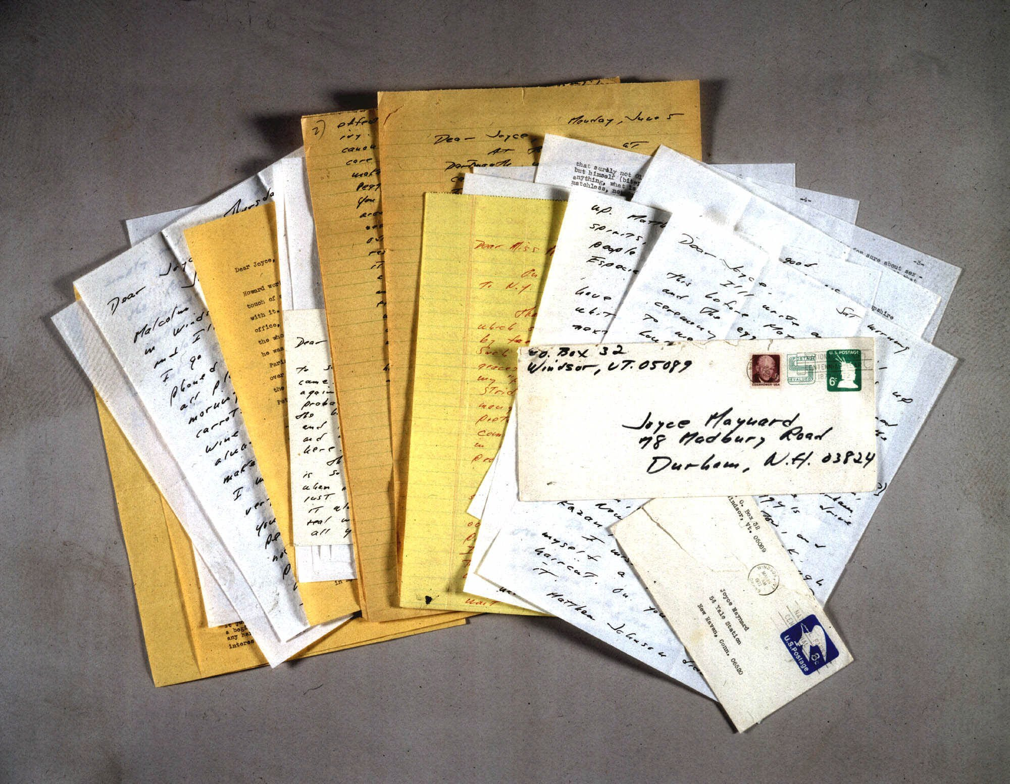 A collection of 14 letters, from J.D. Salinger to Joyce Maynard is shown in this undated file photo released by Sotheby's auction house in New York, N...
