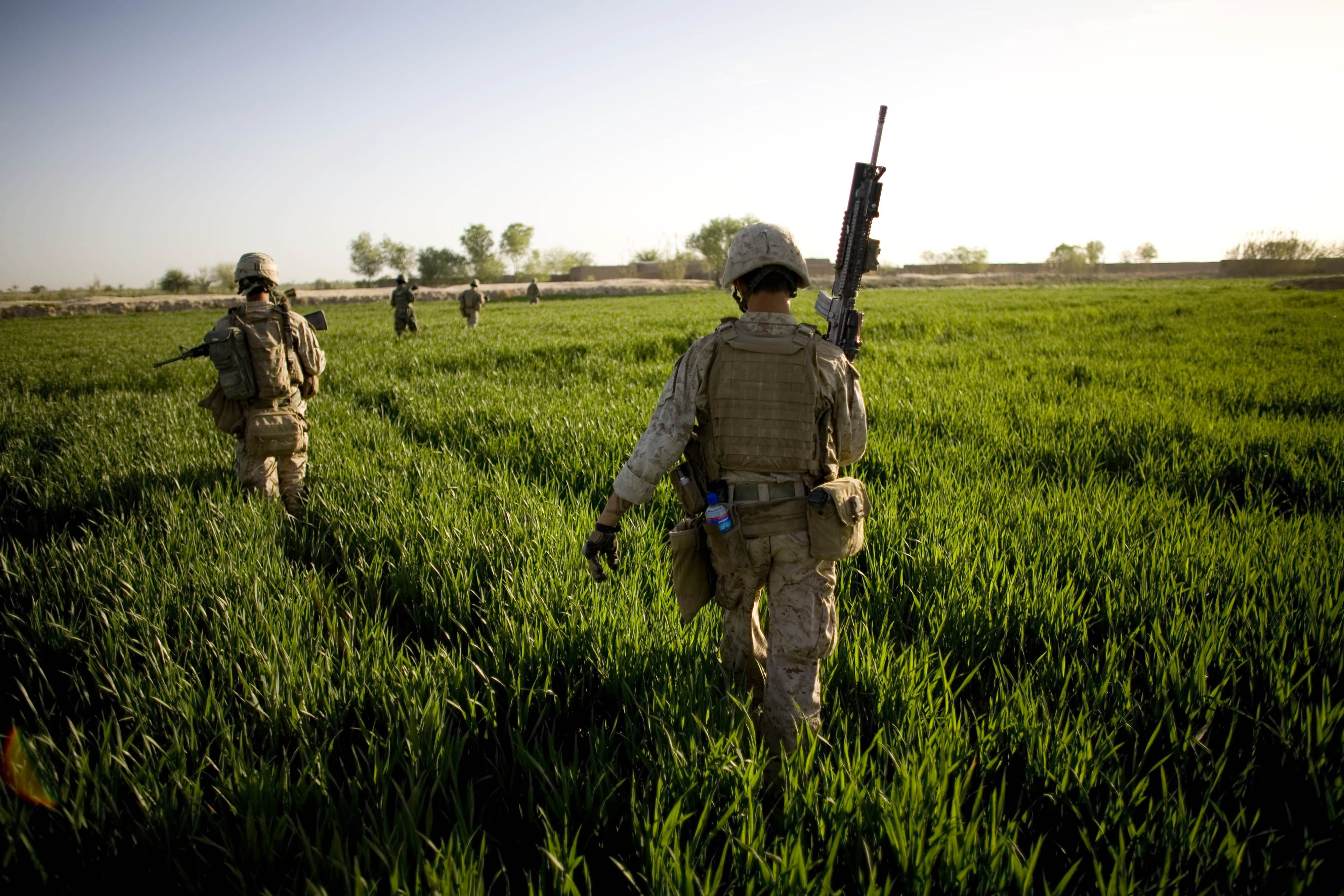 Marines of the 1st Battalion, 6th Marine Regiment patrol in Marjah, Afghanistan. Since U.S., Afghan and NATO forces wrested the town of Marjah from Ta...