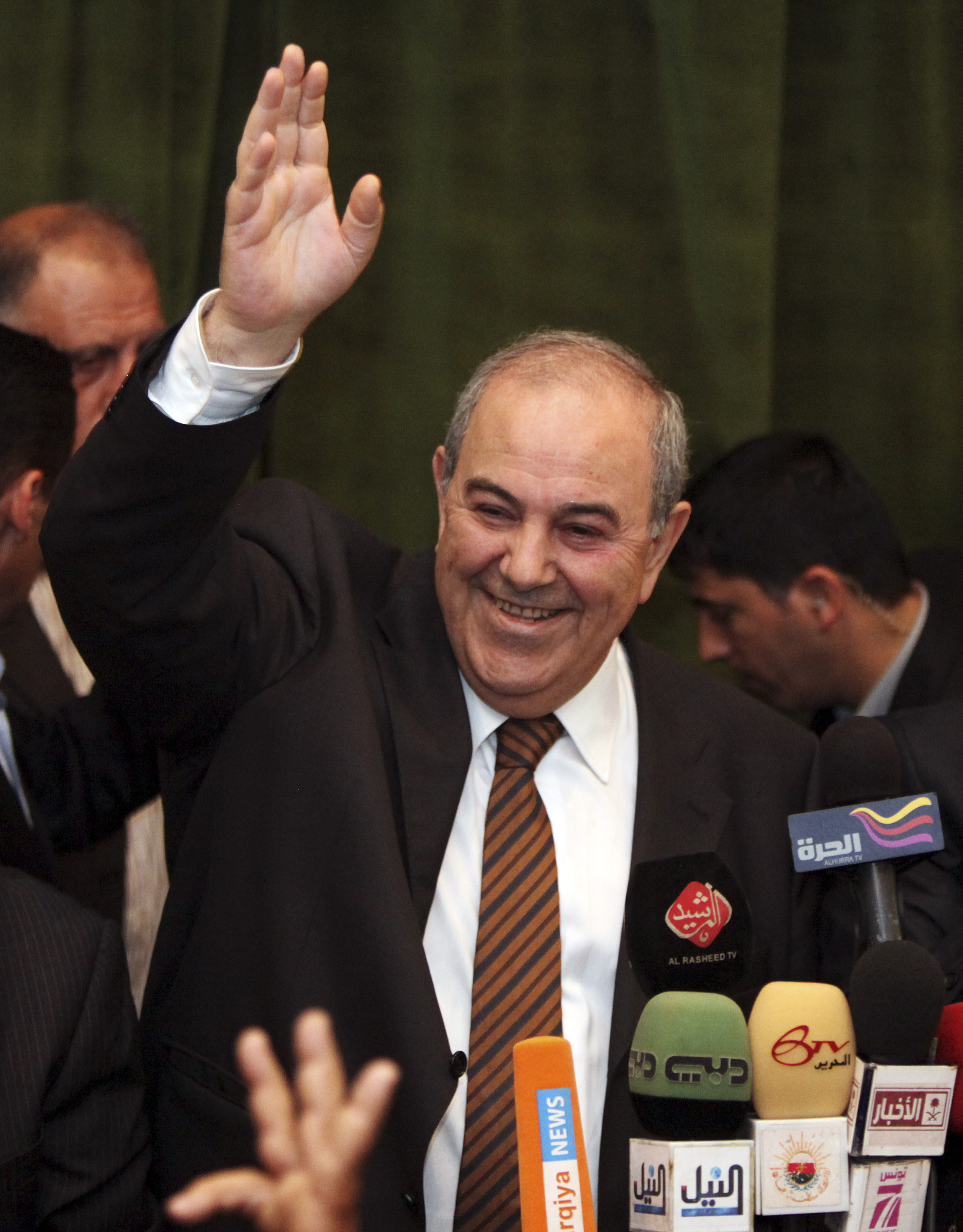 Former Iraqi Prime Minister Ayad Allawi speaks to the press in Baghdad, Iraq on March 27.