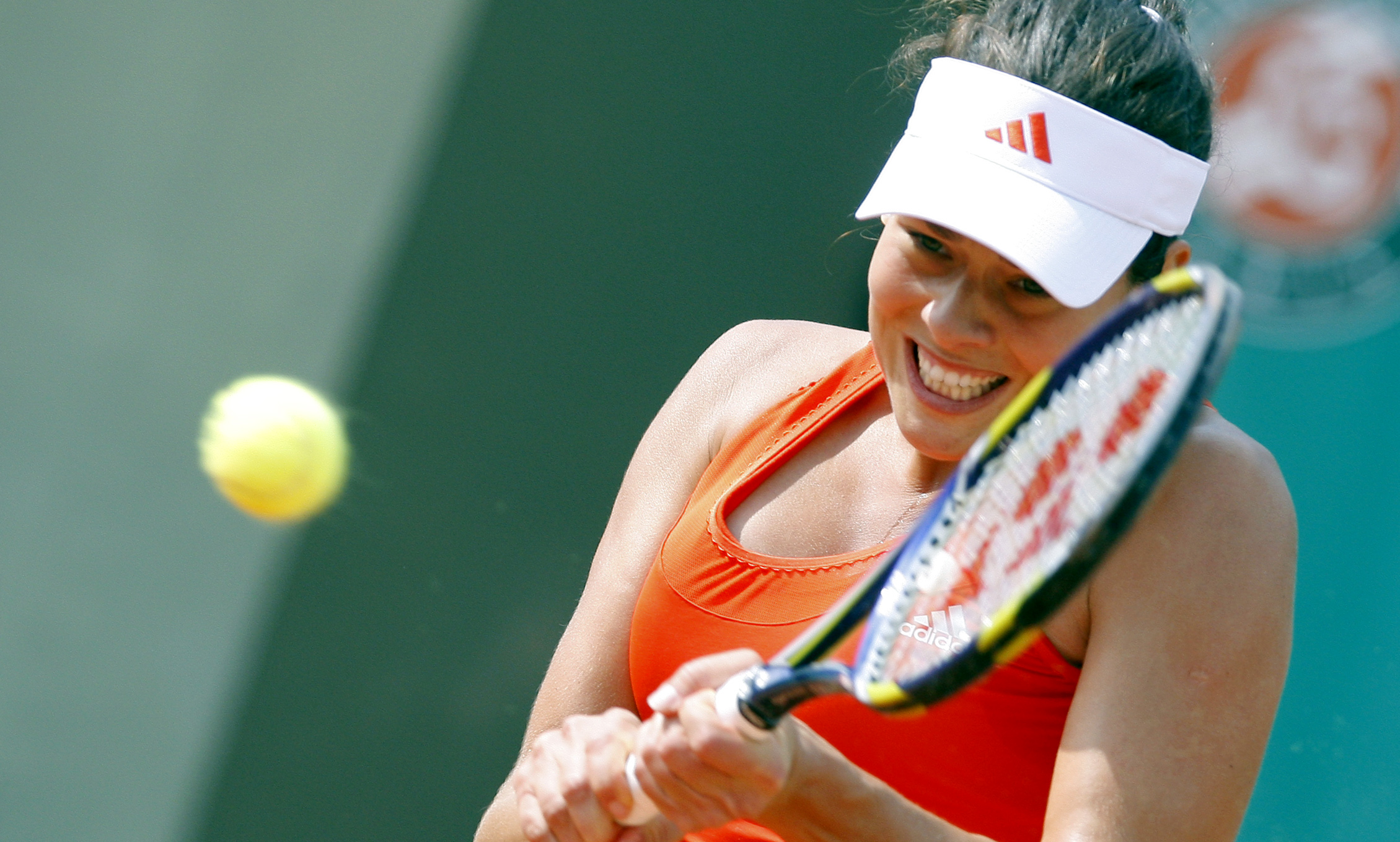 Serbia's Ana Ivanovic returns the ball to Russia's Alisa Kleybanova during a second round match of the French Open tennis tournament at the Roland Gar...