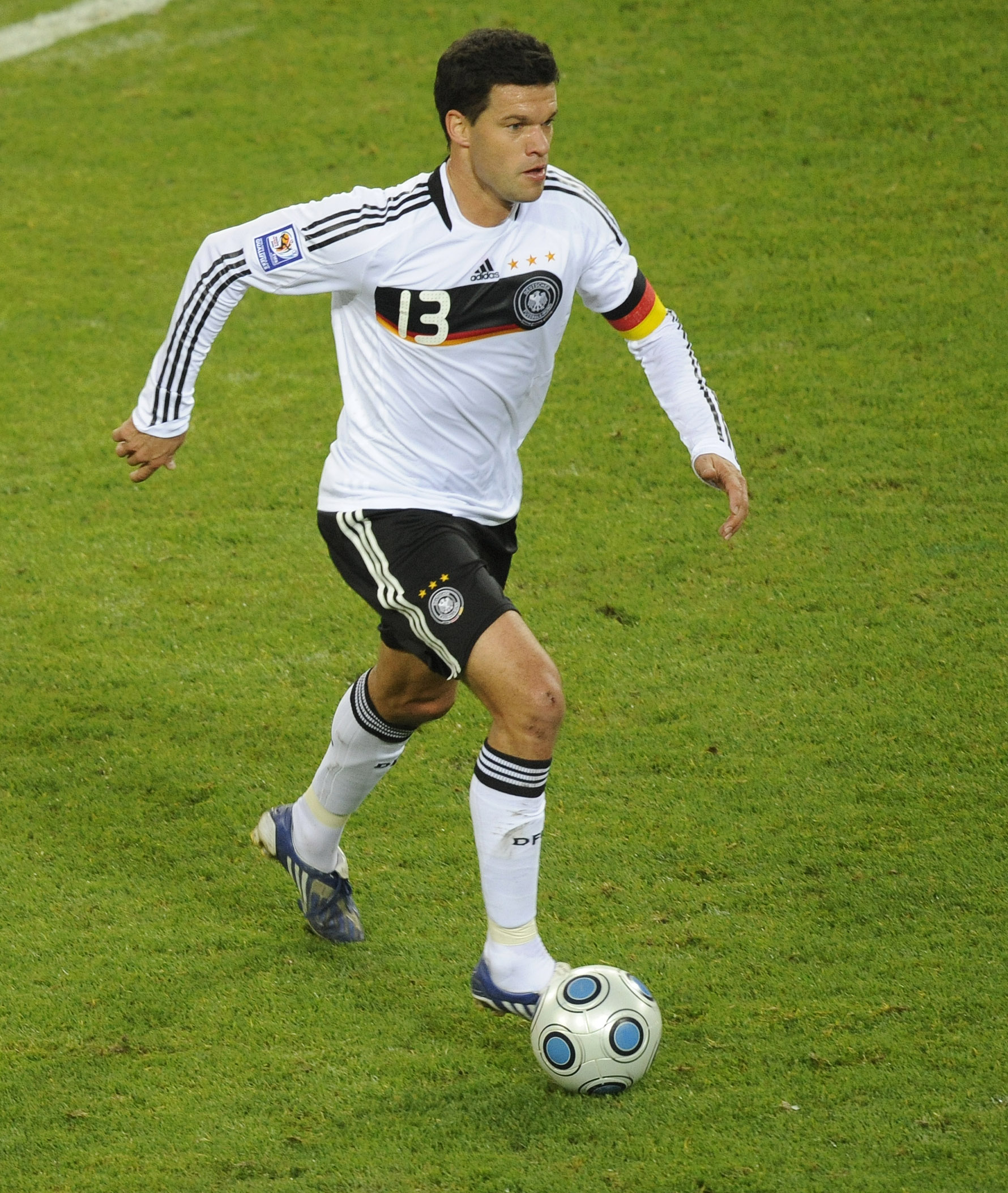 In this Oct. 14, 2009 file photo Germany's Michael Ballack is pictured during the World Cup group 4 qualifying soccer match between Germany and Finlan...