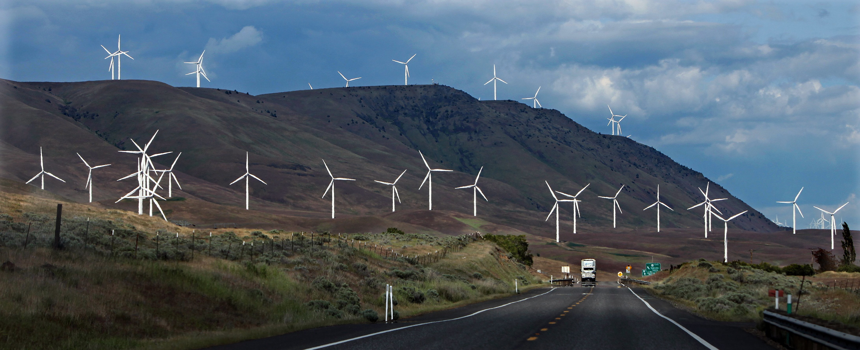 One of the largest wind power projects in Washington State stands at Windy Point ?the bluffs overlooking the Columbia Gorge near the town of Goldendal...