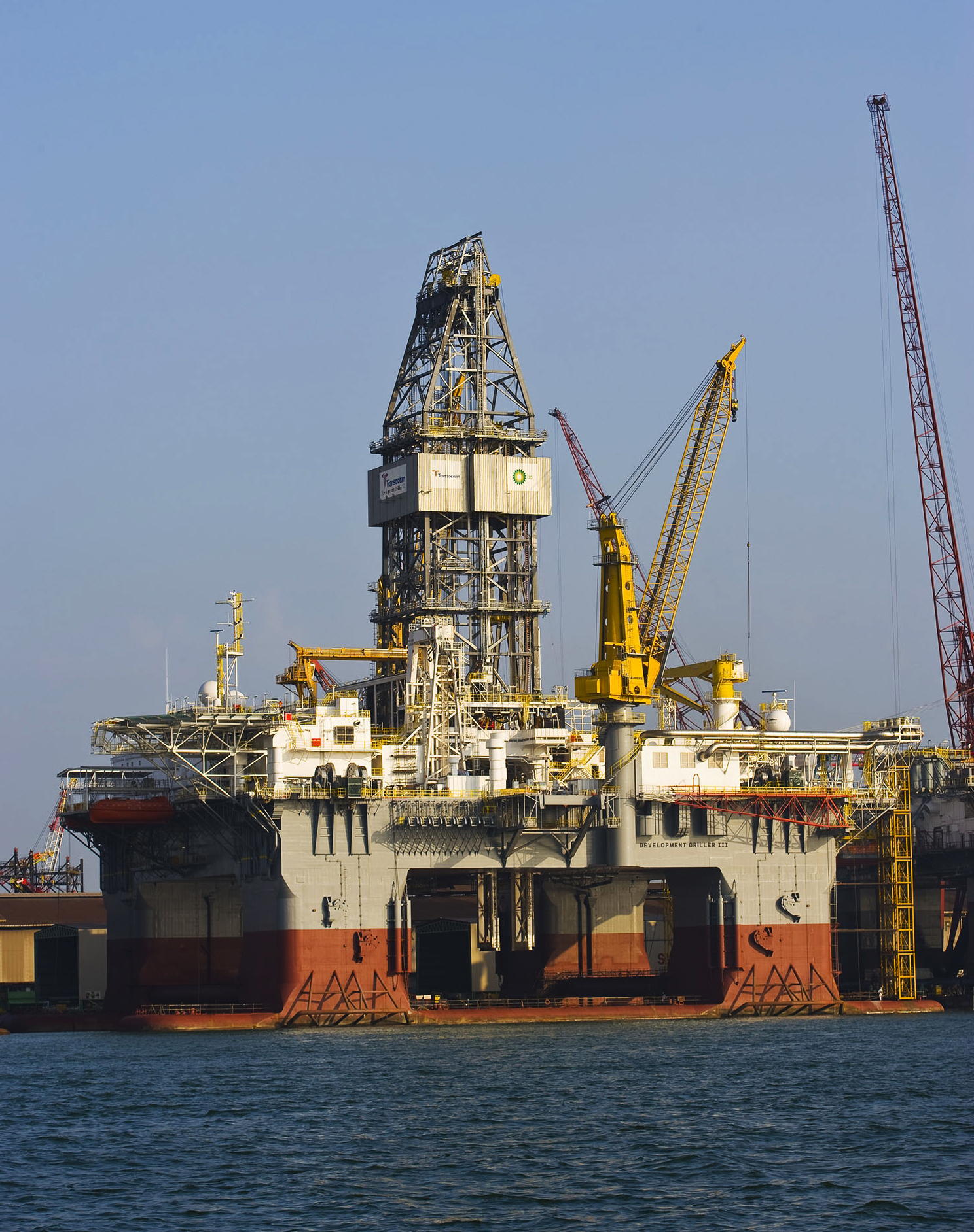 The ultra-deepwater semisubmersible rig Development Drill III begins operations for drilling a relief well in the Gulf of Mexico in this May 3 file ph...