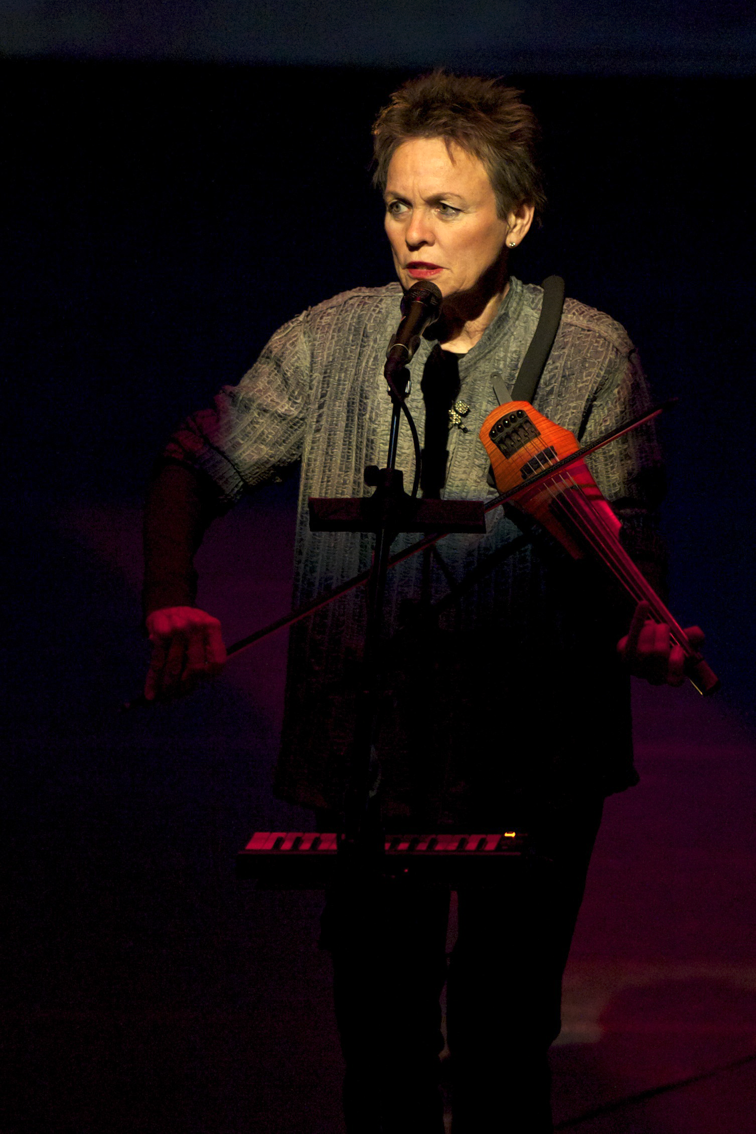Musician Laurie Anderson performs a selection from her latest solo work ?Delusion'' at an undisclosed location on Feb. 26.