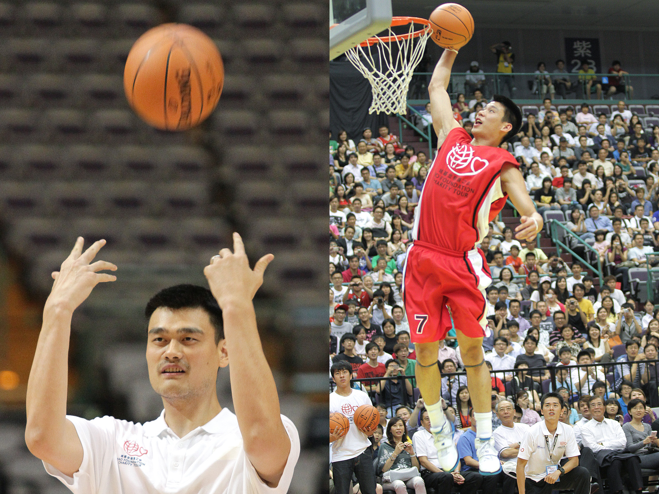 Left: NBA Houston Rockets player Yao Ming has fun before a charity game in Taipei yesterday. Right: NBA Golden State Warriors player Jeremy Lin demon...