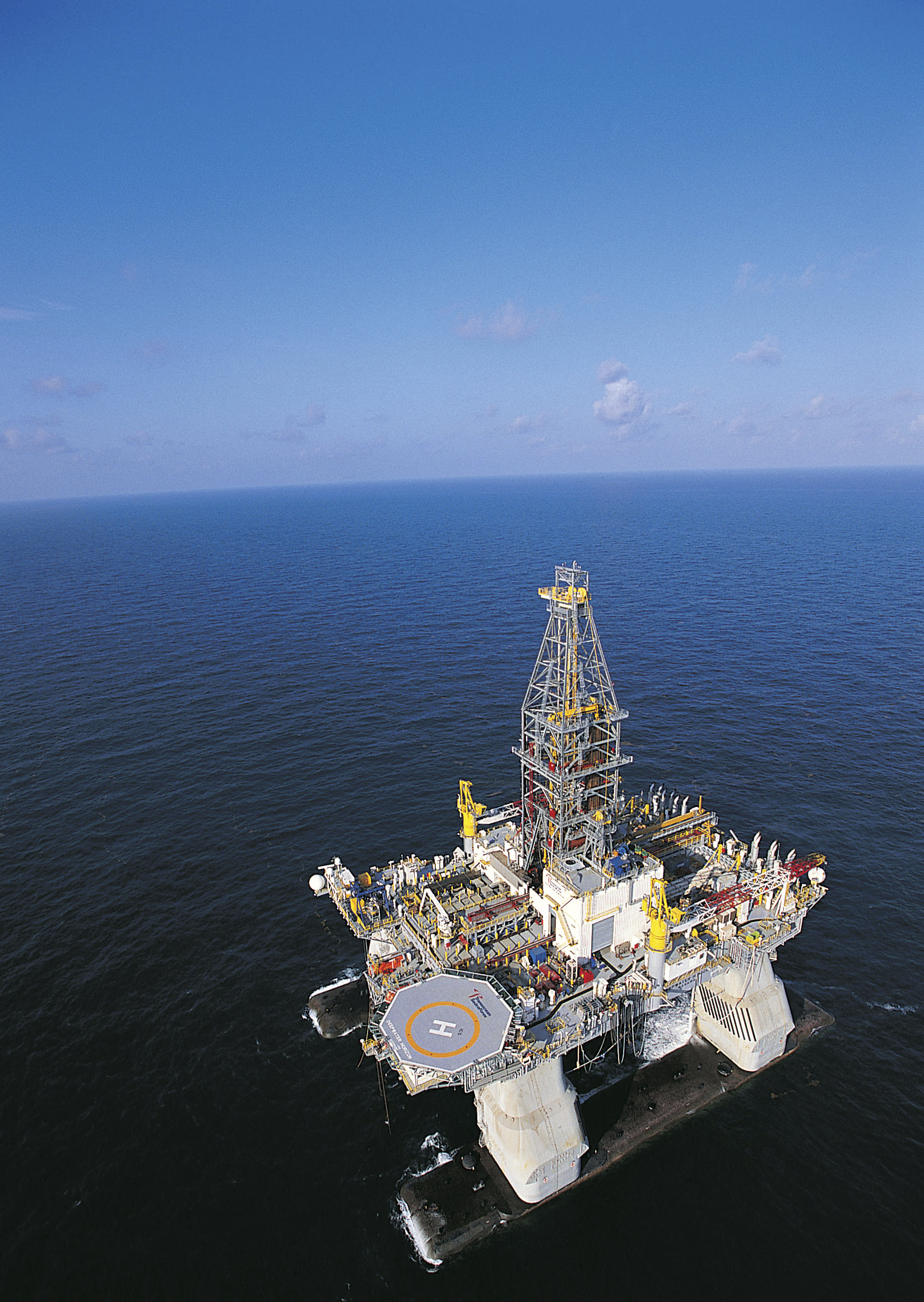 In this undated file photo released by Transocean, the ultra-deepwater semi-submersible rig Deepwater Horizon is shown operating in the U.S. Gulf of M...