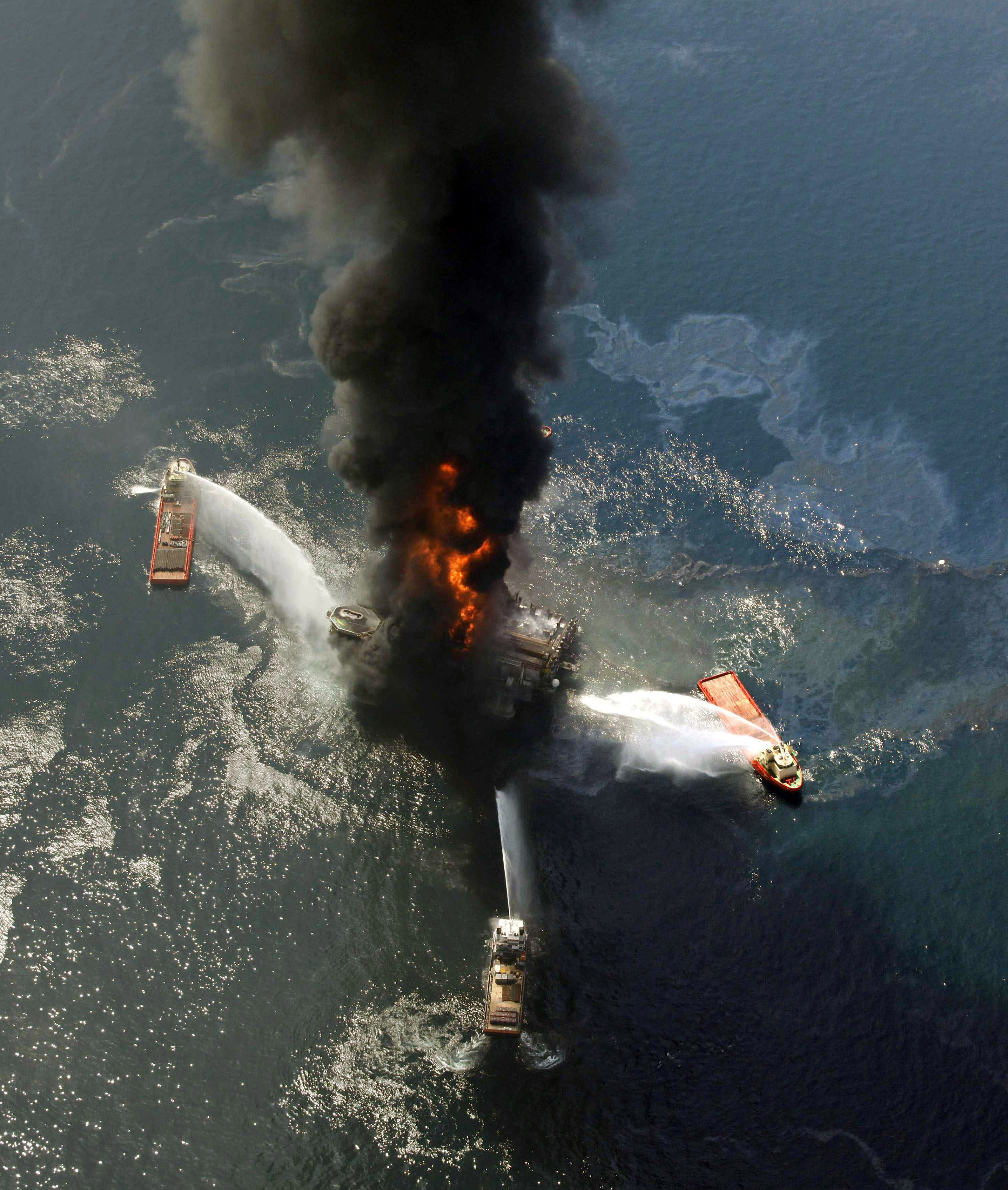 This April 21 file photo show the Deepwater Horizon oil rig burning after an explosion in the Gulf of Mexico, off the southeast tip of Louisiana.