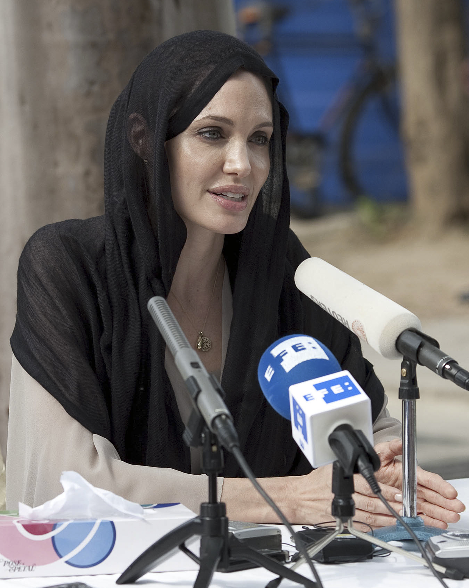 UNHCR Goodwill Ambassador, U.S. actress Angelina Jolie listens to a reporter during a news conference in Islamabad, Pakistan on Wednesday. Jolie on We...