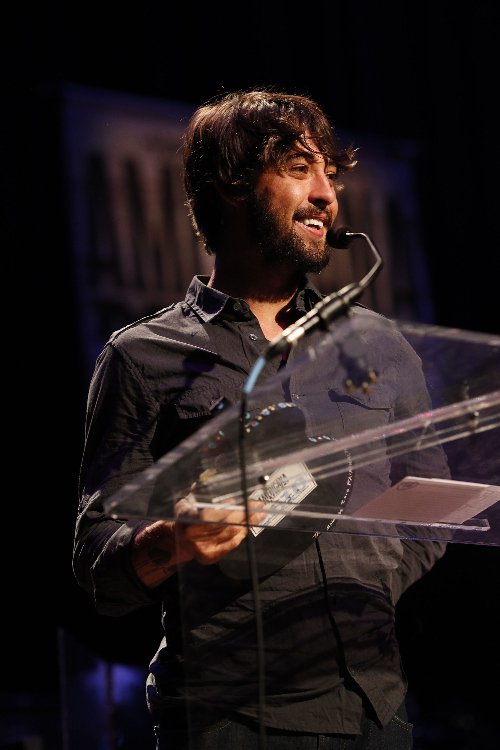 Ryan Bingham accepts the award for Artist of the Year during The Americana Music Awards at The Ryman Auditorium, in Nashville TN. on Thursday.