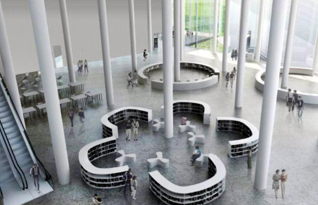台中綠美圖採用挑高設計,創造寬廣的室內空間。(中市圖提供)