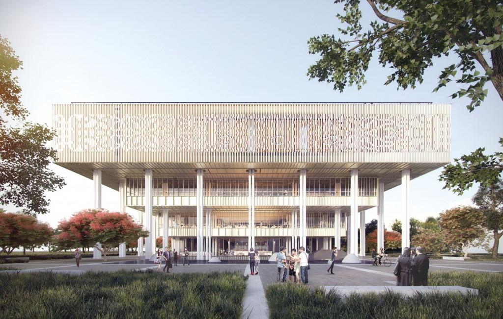 南市圖新總館倒立階梯式立面設計,造型仿若一座大型天篷。(張瑪龍陳玉霖聯合建築師事務所提供)