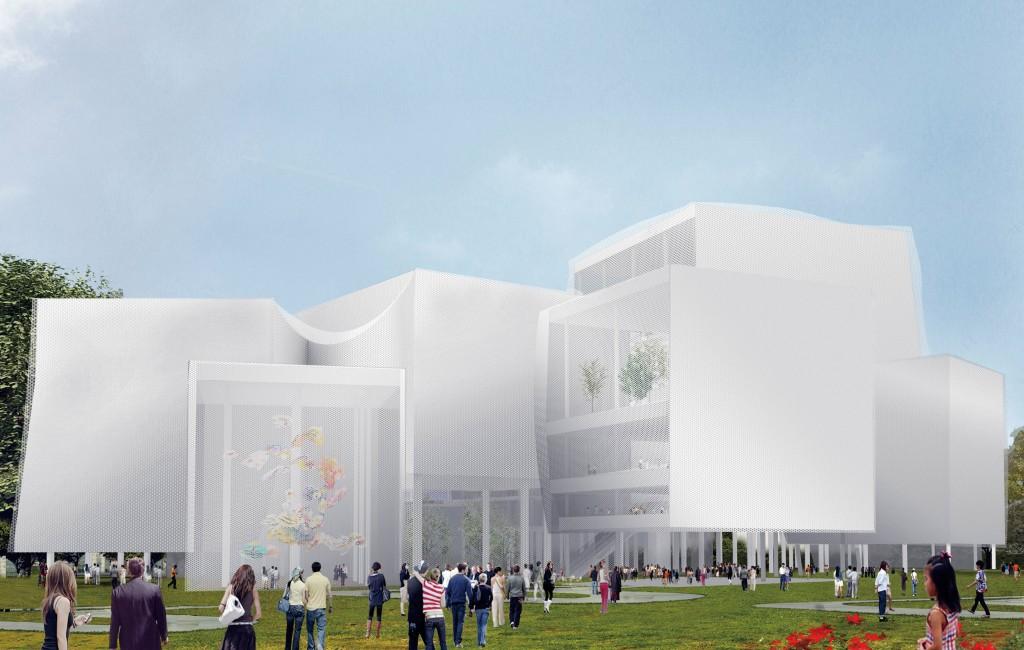台中綠美圖以「公園中的圖書館、森林中的美術館」為設計理念。(中市圖提供)
