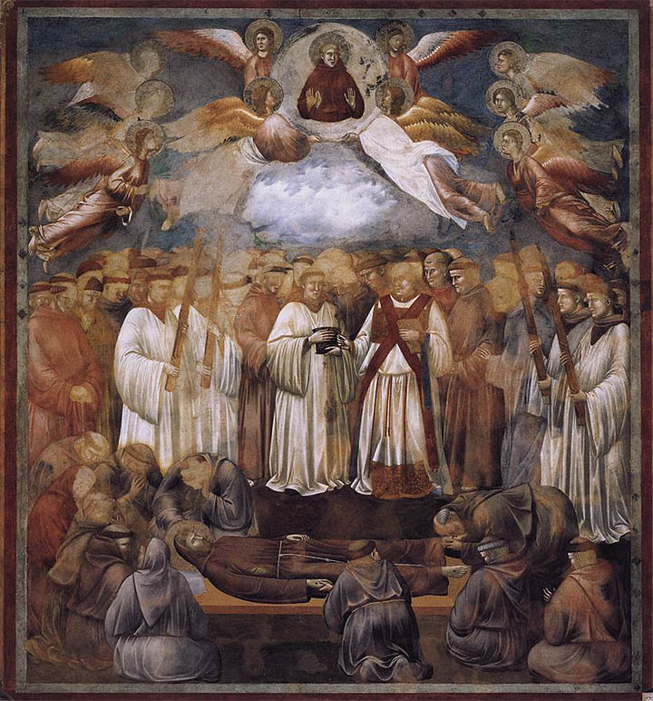 The fresco number 20 painted by Giotto di Bondone in the Basilica of St. Francis in Assisi, Italy.