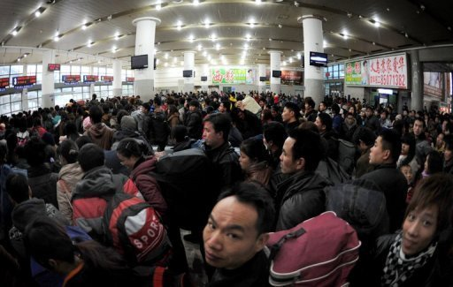 Chinese travelers at a railway station in Beijing on January 6, 2012.