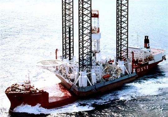 "In this undated handout photo released by Arktikmorneftegazrazvedka an oil drilling platform ""Kolskaya"" is seen in the Sea of Okhotsk. The oil drillin..."