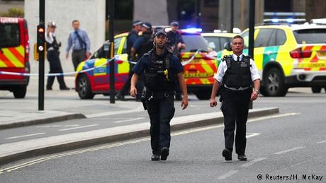 Several injured after car smashes into barriers outside UK Parliament