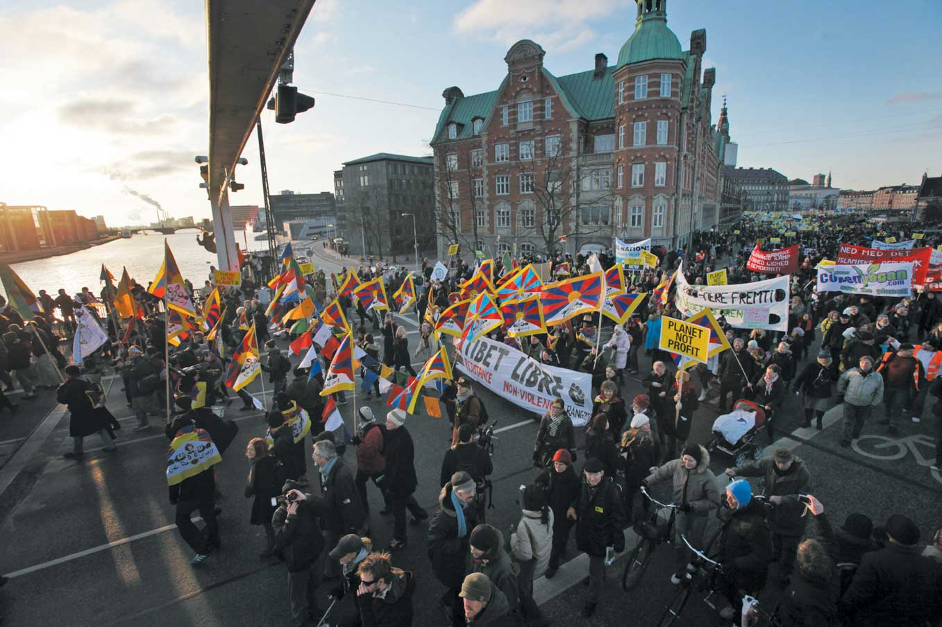 Tens of thousands demonstrators take part in a march leaving from parliament in the center of Copenhagen on Saturday.