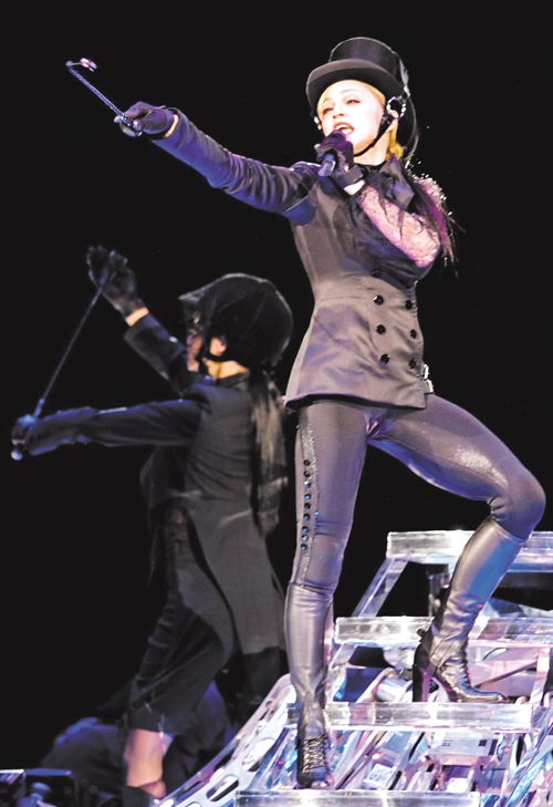 U.S. pop star Madonna performs in the Luzhniki stadium Confession concert in Moscow.