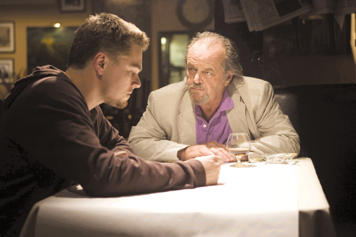 """Leonardo DiCaprio, left, and Jack Nicholson in a scene from """"The Departed,"""" from Warner Bros. Pictures."""