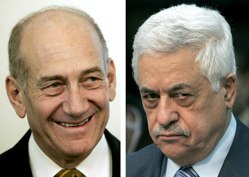 LEFT: Israeli Prime Minister Ehud Olmert RIGHT: Palestinian President Mahmoud Abbas