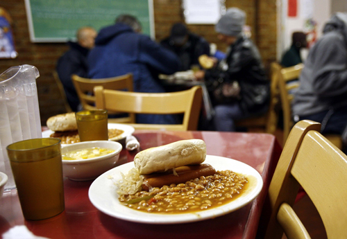 A lunch meal portion waits at the Part of the Solution soup kitchen and food pantry in the Bronx borough of New York, New York on December 13.