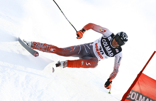 Austria's Michael Walchhofer speeds down the course on his way to winning an Alpine ski World Cup men's downhill in Bormio, Italy on Thursday.
