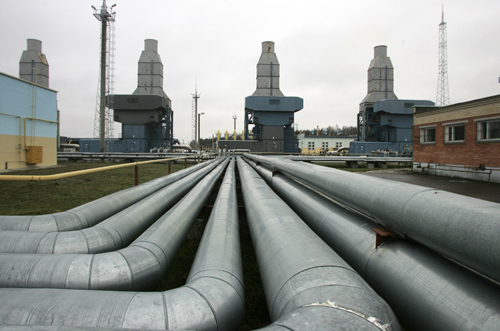 A gas compressor station of the Yamal-Europe pipeline is seen near Nesvizh, some 130 kilometers southwest of the capital Minsk, Belarus on Wednesday.