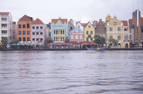 Buildings on Curacao's Willemstad waterfront takes Dutch architecture and adds Caribbean hues of paint.
