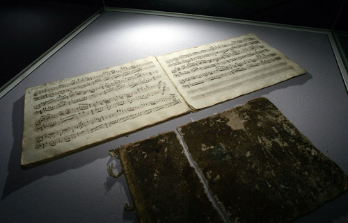 A previously unknown piece of music that in all likelihood was composed by young Wolfgang Amadeus Mozart is on display during a presentation in Salzbu...
