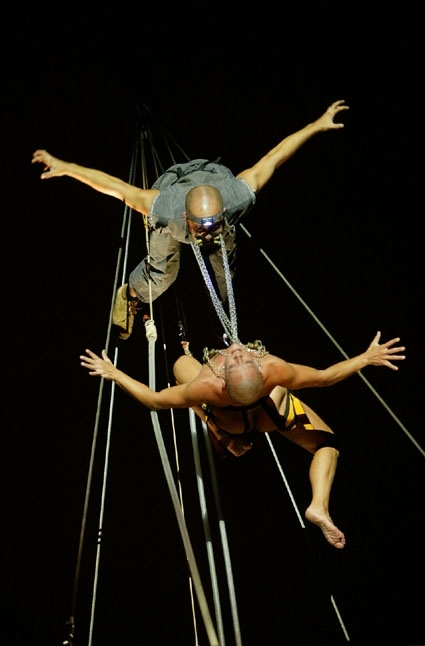 The La Fura dels Baus theate company from Barcolona, Spain, stages a daredevil performance from a ship.