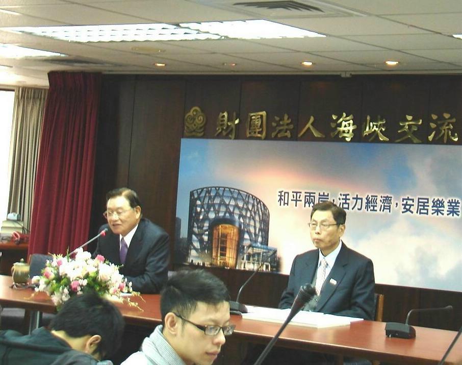 海基會29日舉行年終記者會,董事長表示,現在是兩岸關係60年來最好的時候。(記者Jimi Liao攝影)