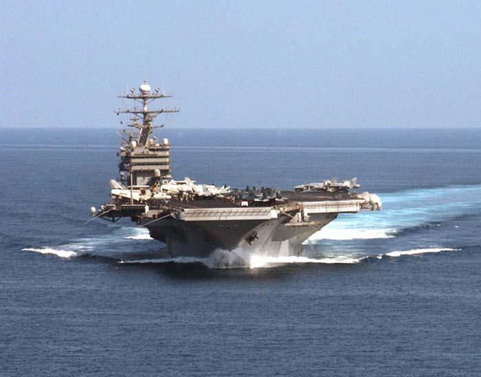"""美國航母""""約翰.斯坦尼斯號""""。(資料圖)"""