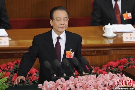 中國總理溫家寶在中共全國人代會上講話。( 中新網)
